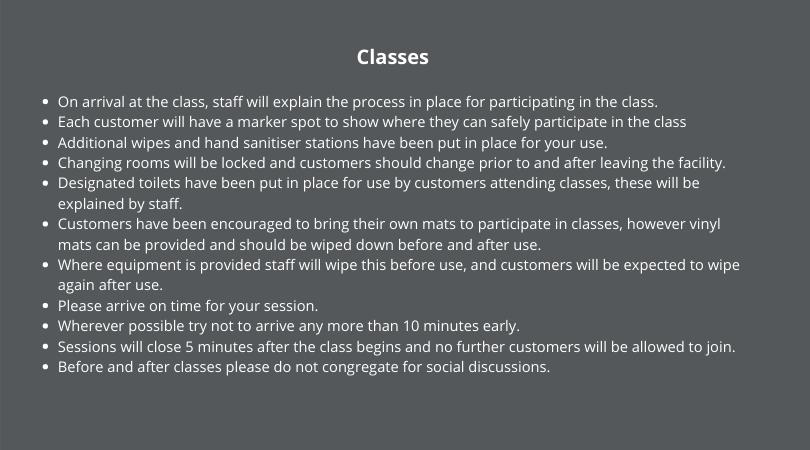 Indoor Classes Guidance 7