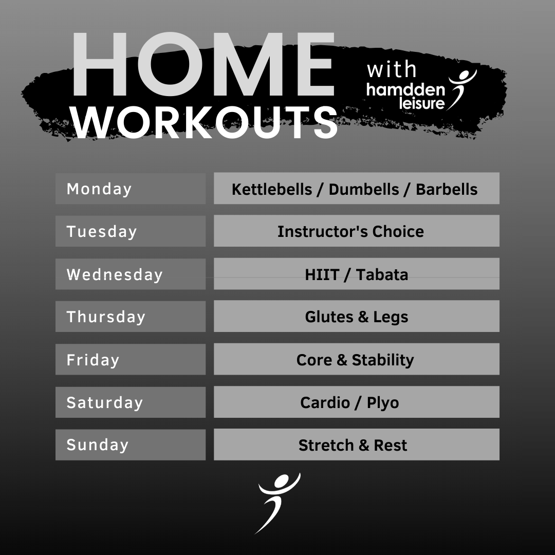 Home workout timetable