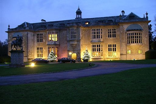 Hartwell House Exterior with Christmas Trees