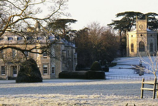 Hartwelll House and Gothic Chapel in snow