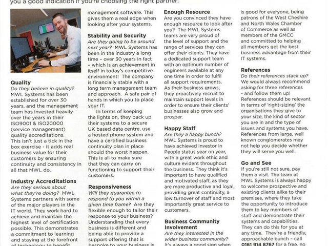 Our IT checklist is in West Cheshire and North Wales Chamber of Commerce's latest magazine