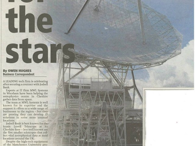 A leading tech firm is celebrating after securing a contract with Jodrell Bank