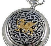 A E Williams Pewter - Pocket Watch Gold Dragon & Celtic Knot Design