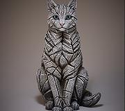 Edge Sculpture - Cat Sitting Black & White