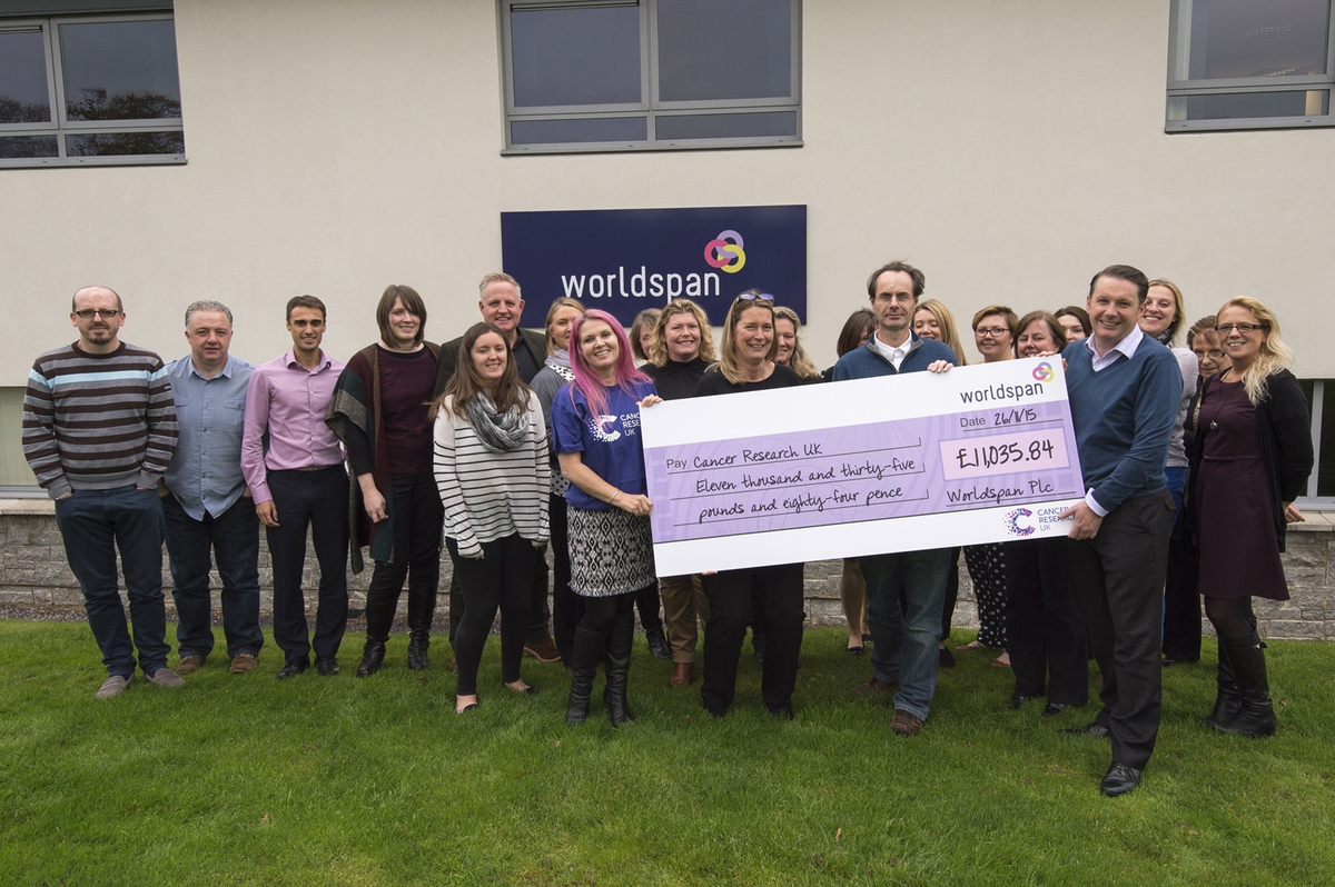 Cancer Research UK recognises Worldspan for raising over £11,000.00