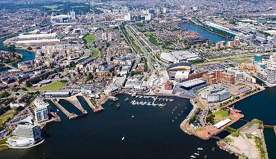 Cardiff Aerial - Aerial view of Cardiff Bay