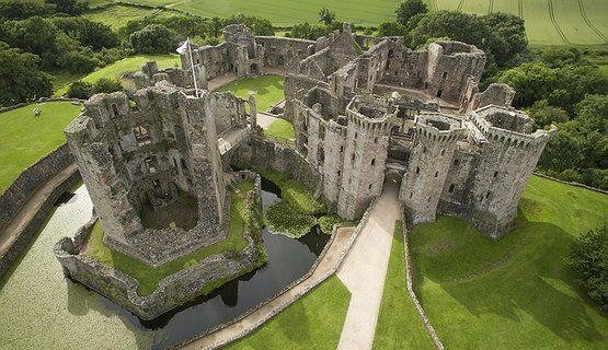 Raglan Castle Aerial - Impressive Raglan Castle
